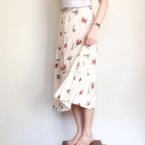 Vintage Button-Up Midi Skirt w Tulips